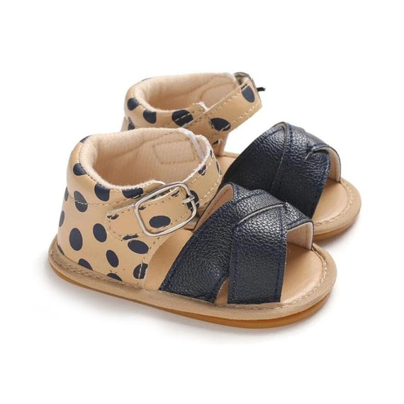 Leopard Leather Crossover Sandals