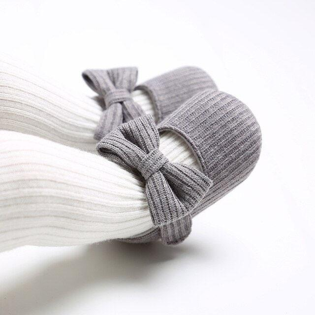 Gray Solid Bow Shoes