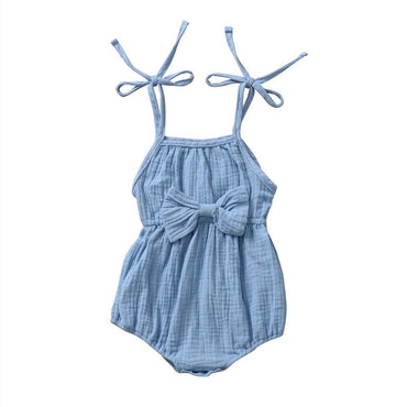 Straps Bow Solid Romper
