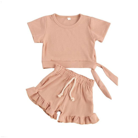Ruffled Shorts Solid Set