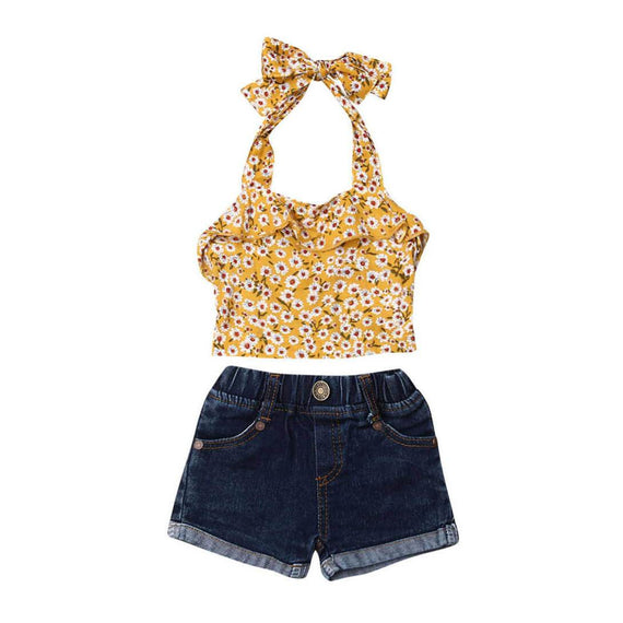 Daisies Denim Set - The Trendy Toddlers