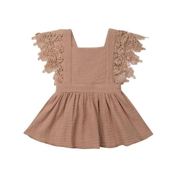 Brown Lace Party Dress