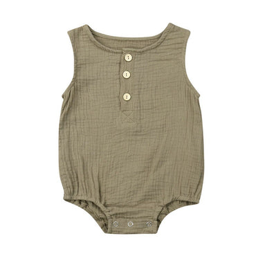 Solid Linen Sleeveless Romper - The Trendy Toddlers