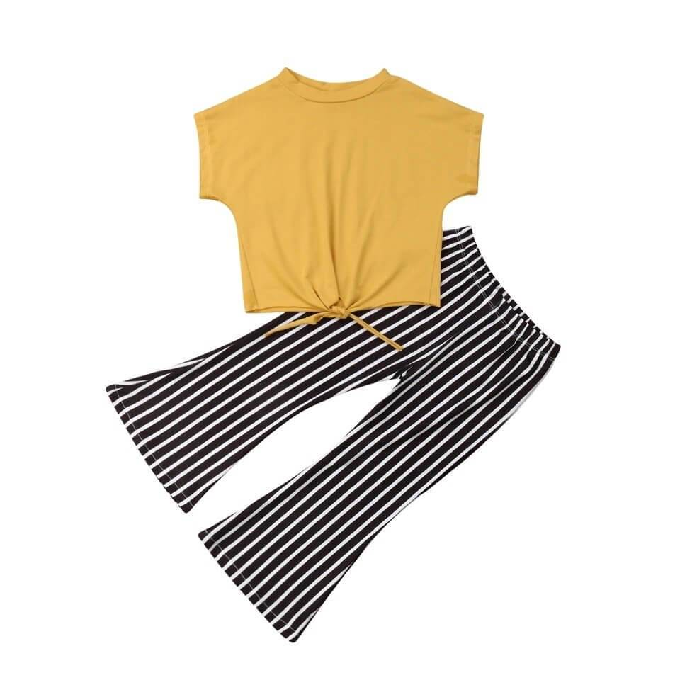 Yellow Striped Pants Set - The Trendy Toddlers