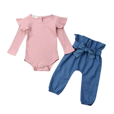 Denim Bow Pants Set - The Trendy Toddlers