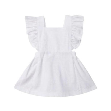 White Ruffle Solid Dress