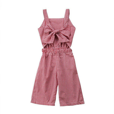 Bow Plaid Jumpsuit - The Trendy Toddlers