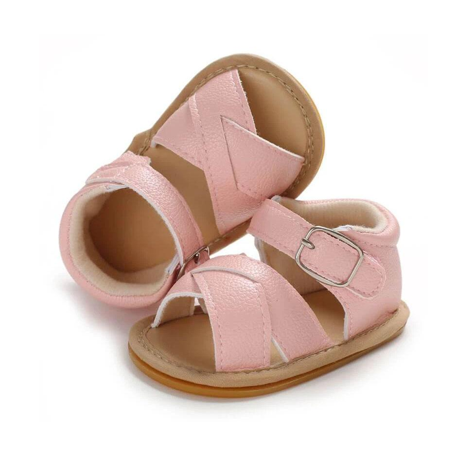 Pink Leather Crossover Sandals