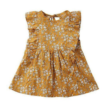 Mustard Floral Dress - The Trendy Toddlers