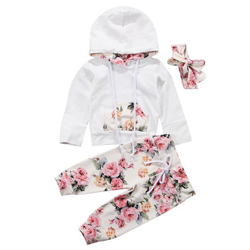 White Floral Hooded Set - The Trendy Toddlers