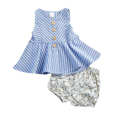 Blue Striped Floral Set - The Trendy Toddlers