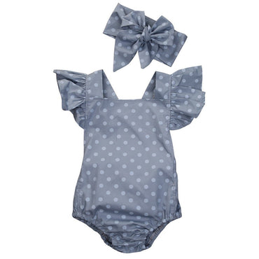 Blue Polka Dot Romper - The Trendy Toddlers