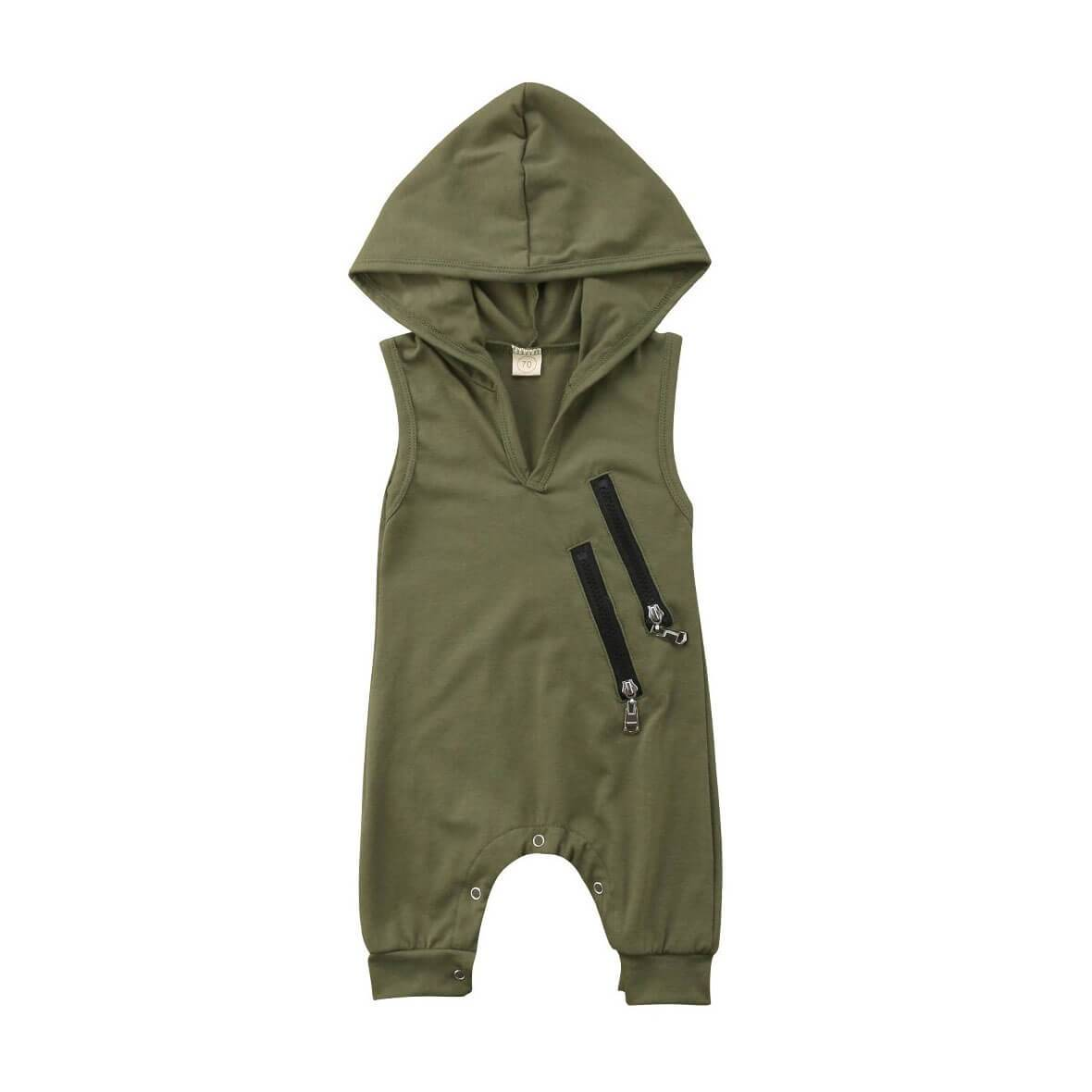 Sleeveless Khaki Hooded Jumpsuit - The Trendy Toddlers