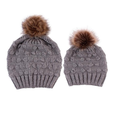 Matching Knit Pom Pom Hat - The Trendy Toddlers