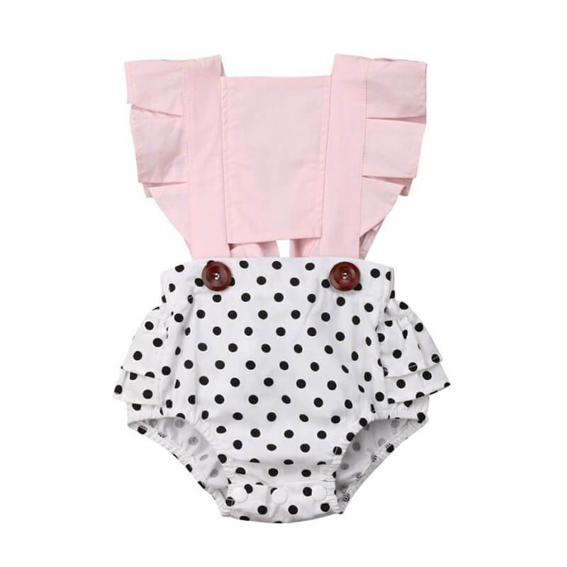 Polka Dot Pink Romper - The Trendy Toddlers