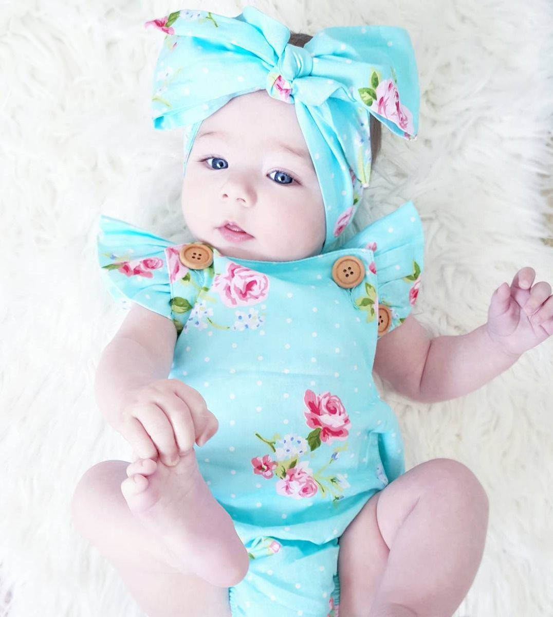 Wooden Buttons Floral Romper - The Trendy Toddlers