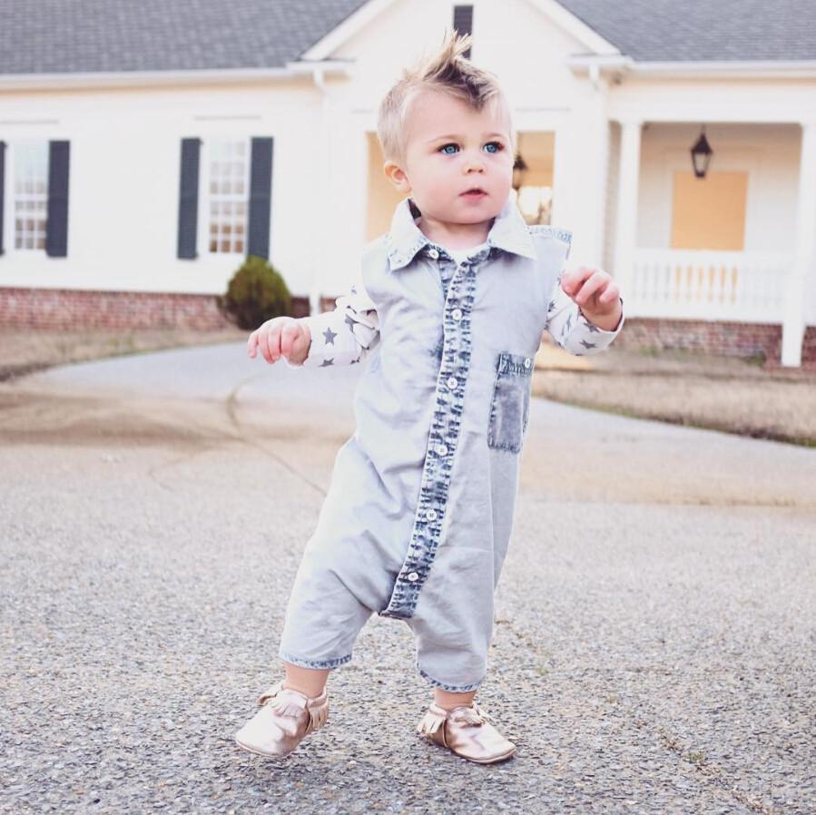 Denim Collar Jumpsuit - The Trendy Toddlers