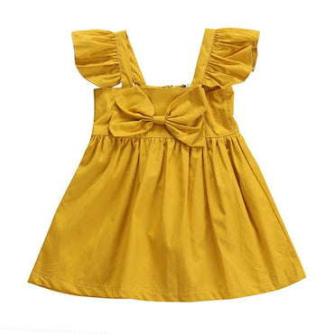 Mustard Bow Tutu Dress - The Trendy Toddlers