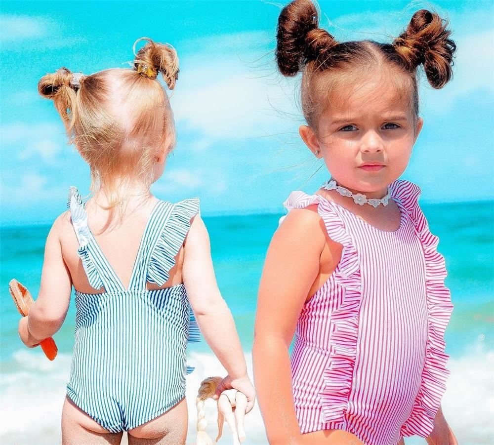 Ruffle Striped Swimsuit - The Trendy Toddlers