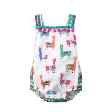 Llama Tassel Romper - The Trendy Toddlers