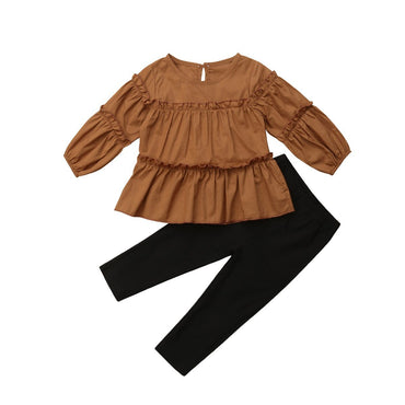 Brown Pleated Set - The Trendy Toddlers