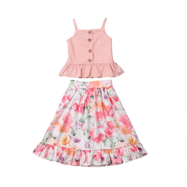 Pink Floral Skirt Set - The Trendy Toddlers