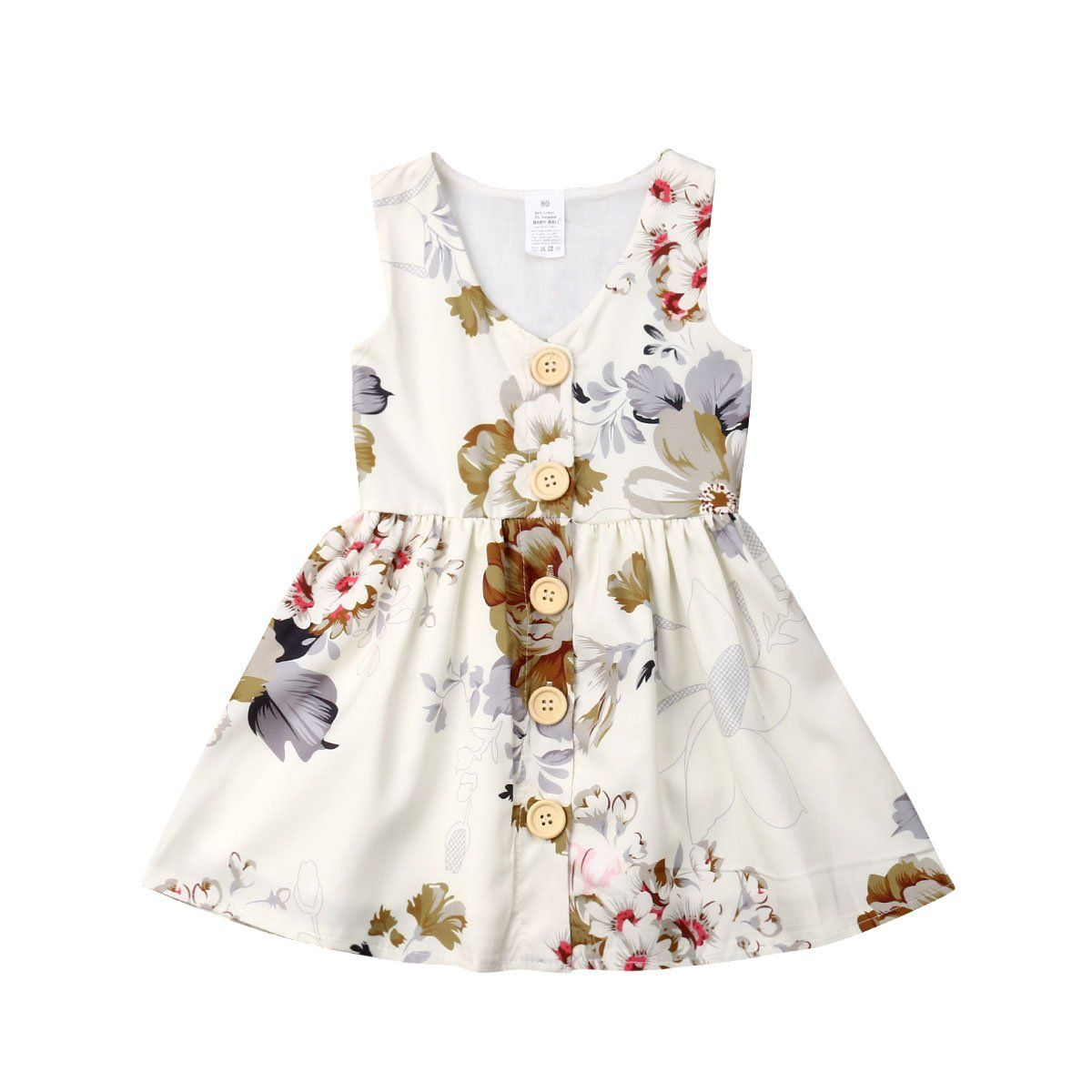 Floral Buttons Dress - The Trendy Toddlers