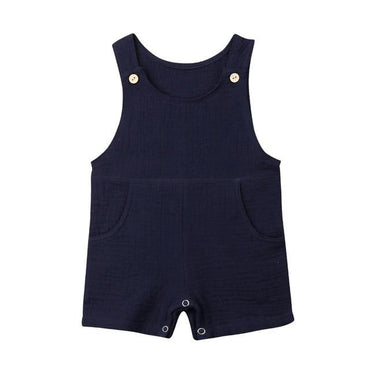 Linen Solid Overall Romper - The Trendy Toddlers