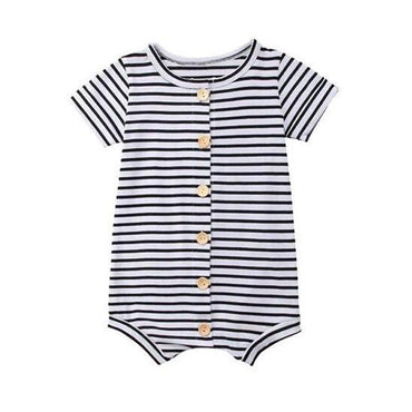 Striped Button Romper - The Trendy Toddlers