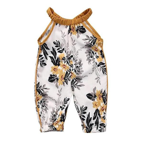 Mustard Floral Pant Romper - The Trendy Toddlers