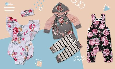 USA Newborn Baby Girl Clothes Best Daddy Romper Floral Pants Summer Outfits Set
