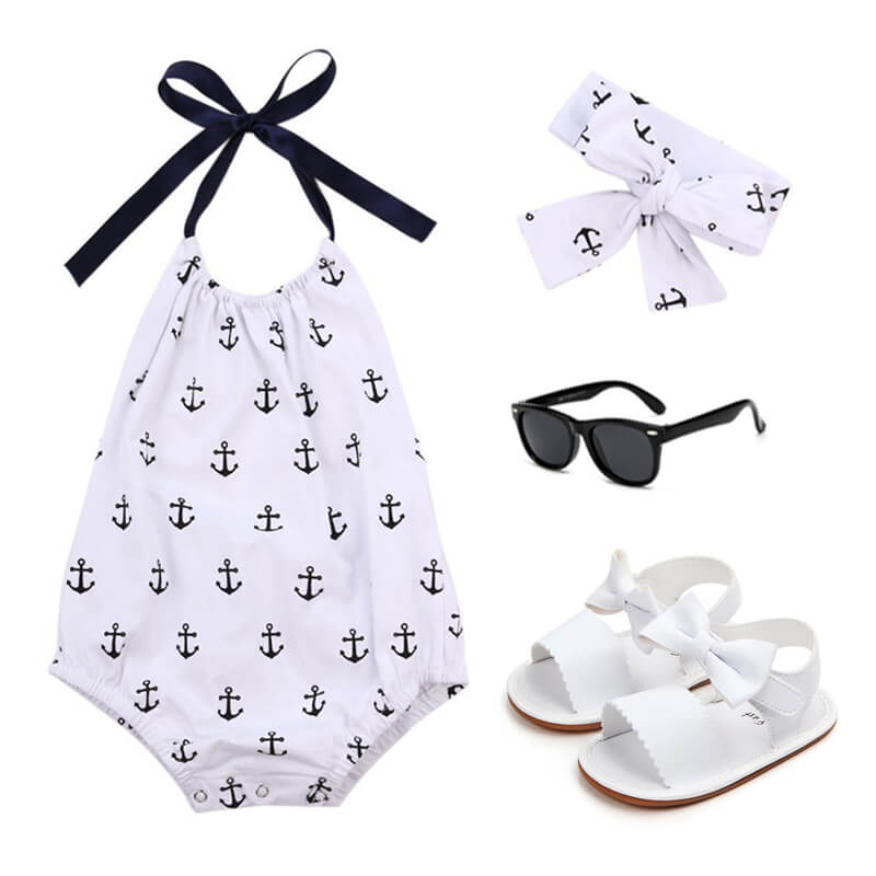 Baby Girl Anchor Ruffle Outfit Set