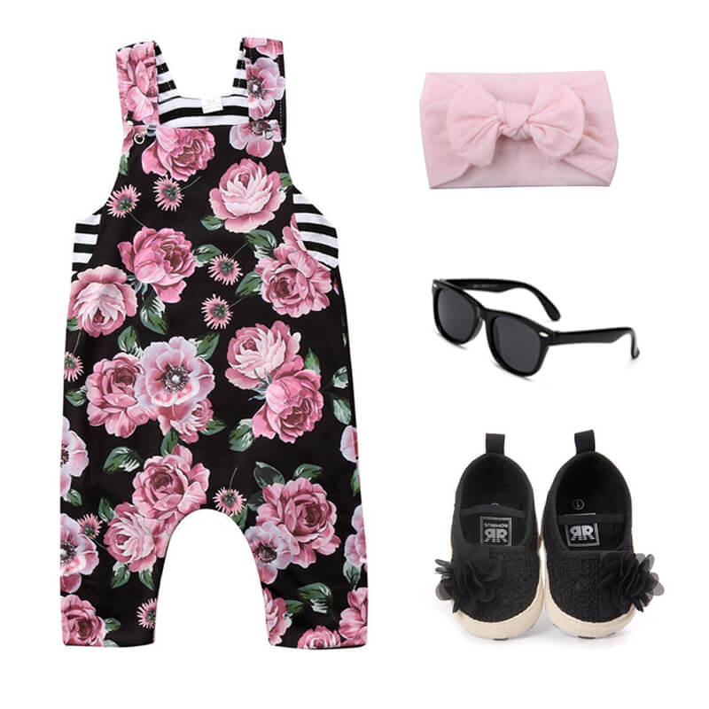Baby Girl Floral Striped Outfit Set