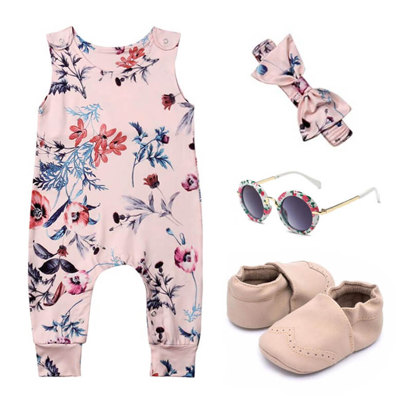 Baby Girl Floral Leaves Outfit Set