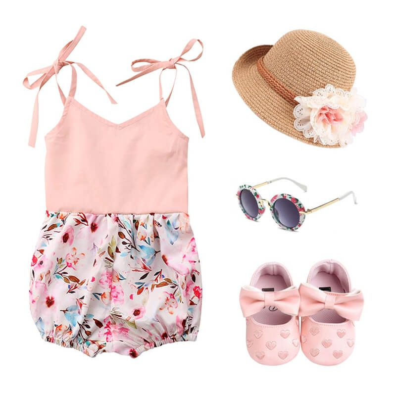 Baby Girl Pastel Floral Outfit Set