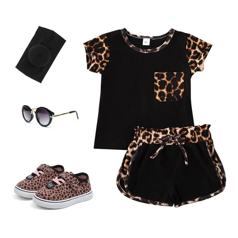 Toddler Girl Leopard Black Outfit