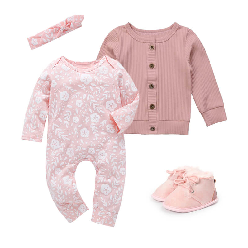 Baby Girl Pink Jumpsuit Cardigan Outfit