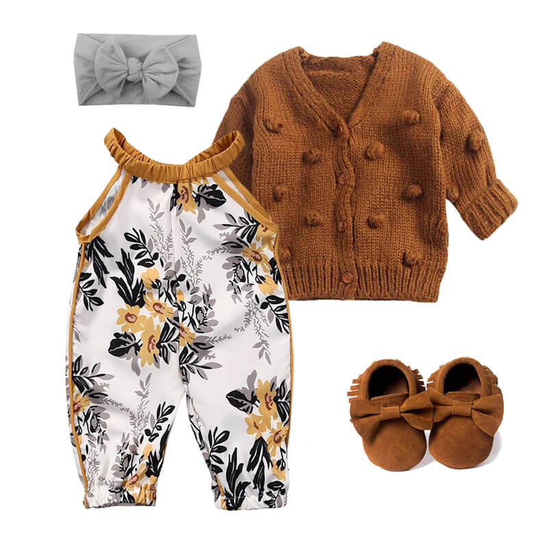 Baby Girl Jumpsuit Cardigan Fall Outfit