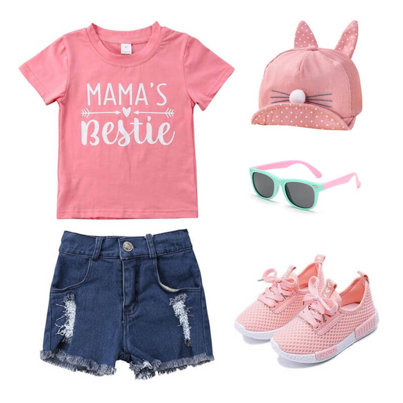 Toddler Girl Mama's Bestie Tee Jean Shorts Outfit