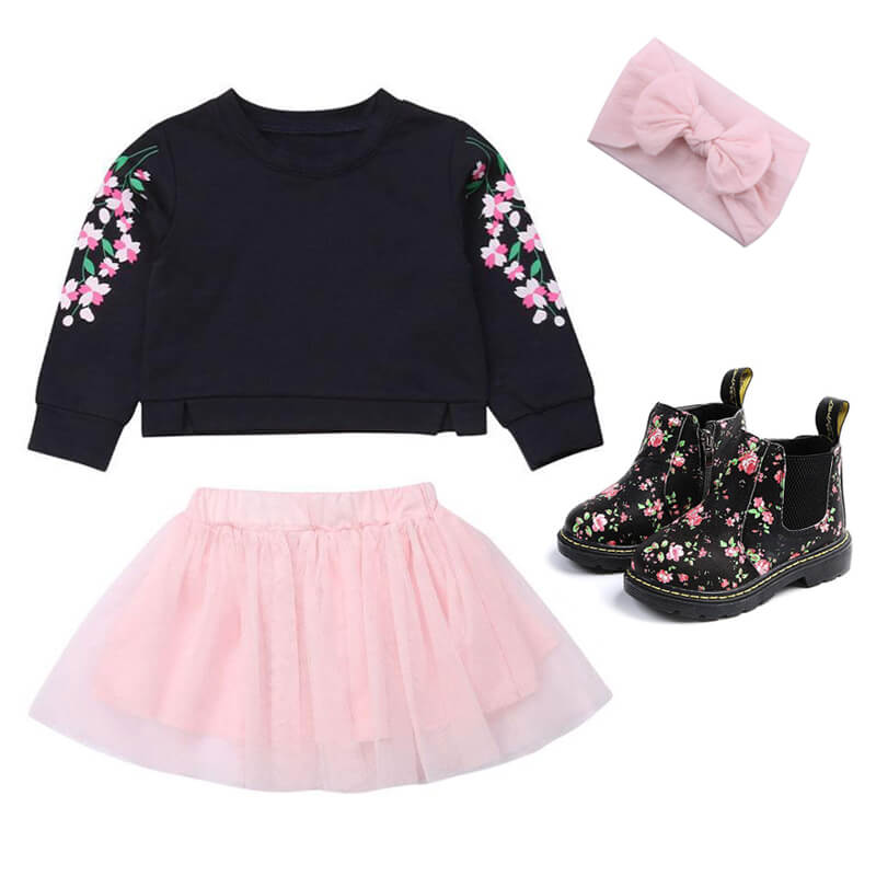 Toddler Girl Pink Tulle Skirt Boots Outfit