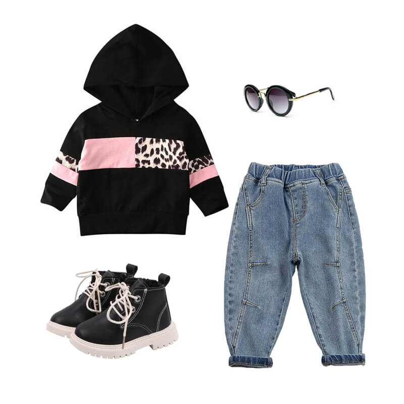 Toddler Girl Black Leopard Hoodie Outfit