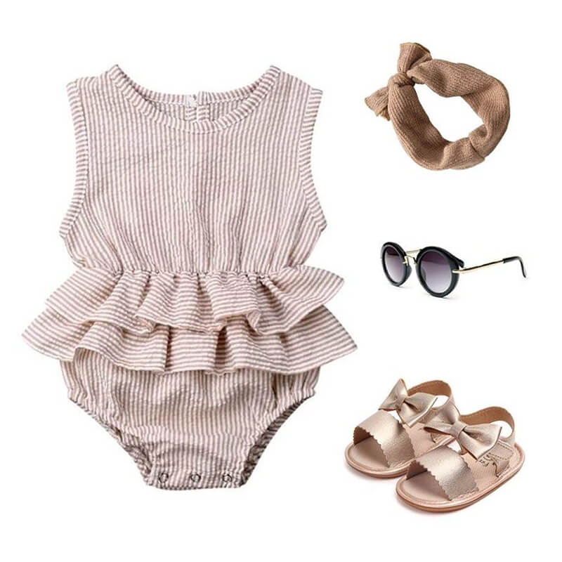Baby Girl Ruffle Solid Outfit