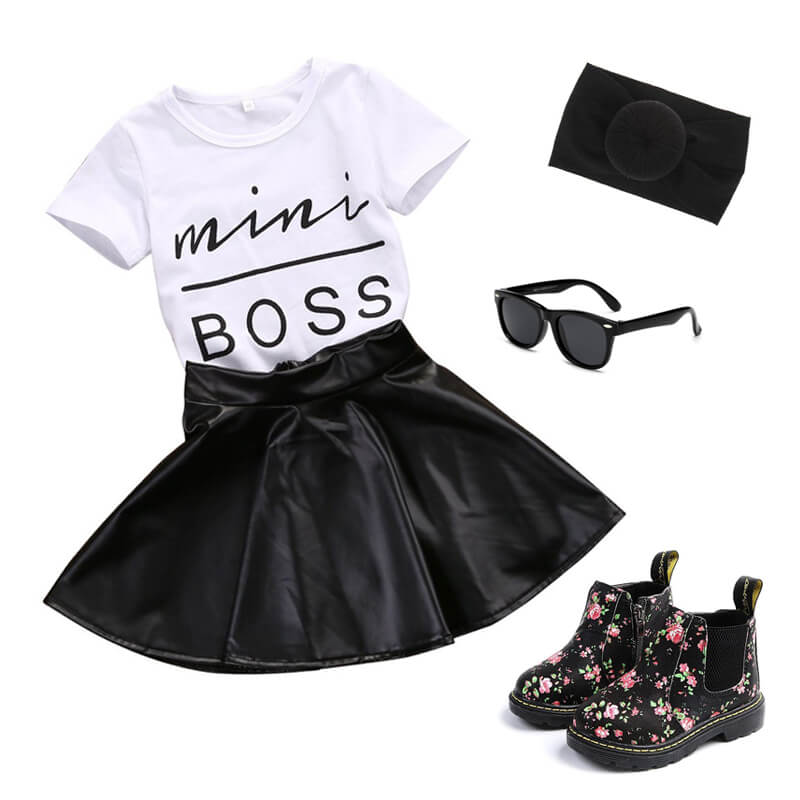 Toddler Girl Mini Boss T-shirt Dress Outfit