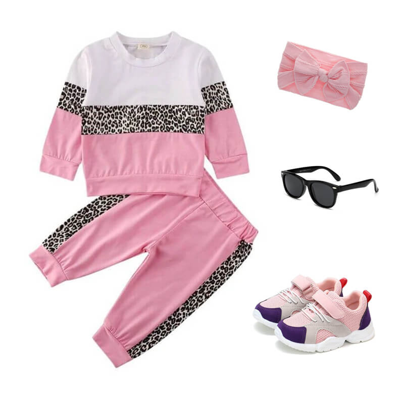 Toddler Girl Pink Leopard Tracksuit Outfit
