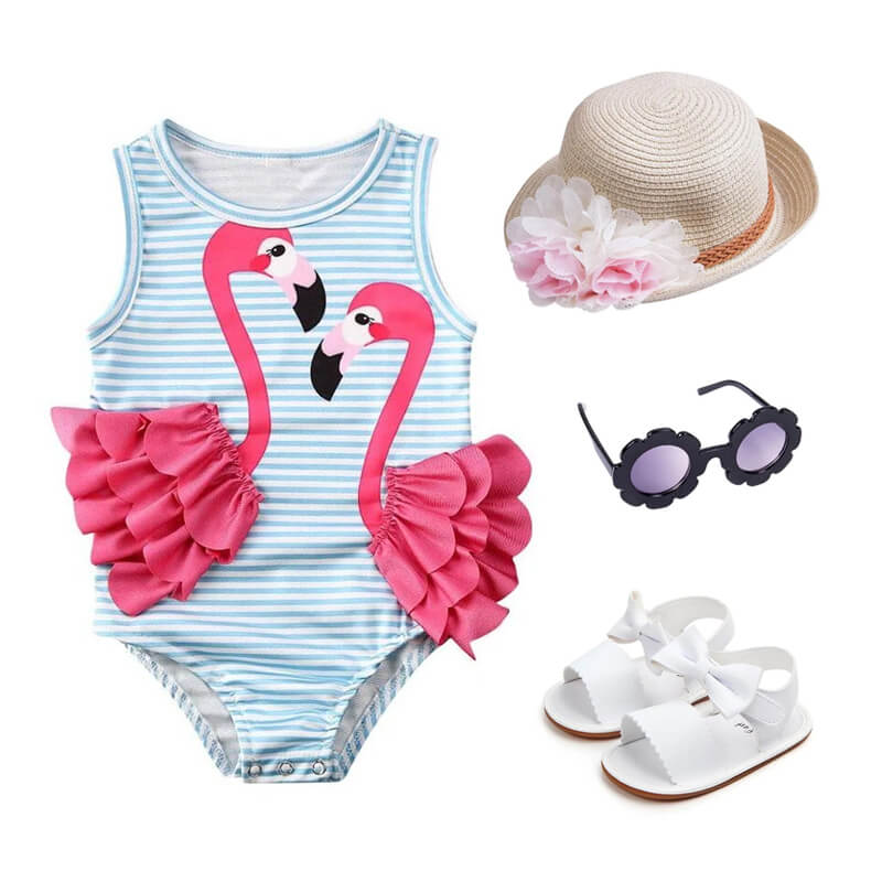 Baby Girl Striped Flamingo Outfit