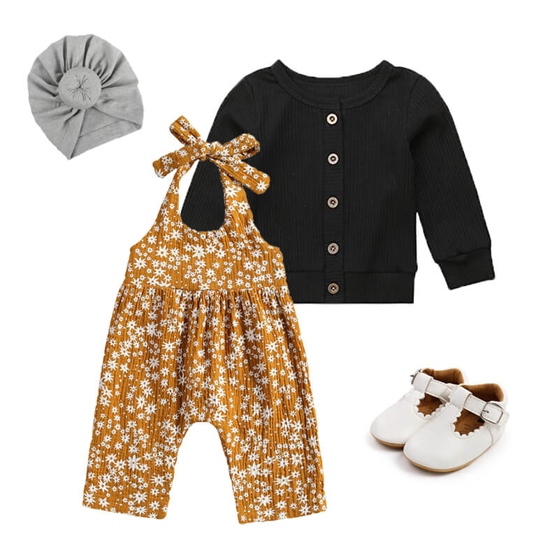 Baby Girl Mustard Sleeveless Jumpsuit Cardigan Outfit