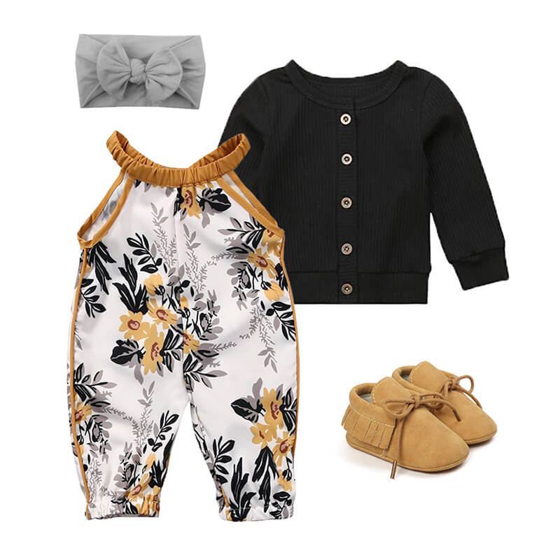 Baby Girl Mustard Floral Outfit Set