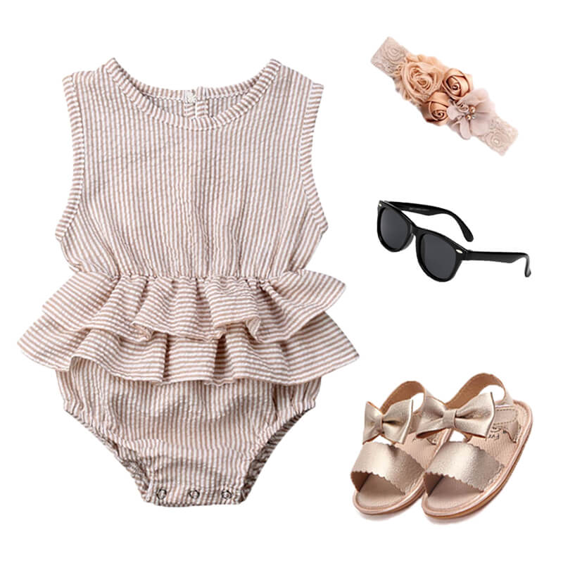 Baby Girl Solid Ruffle Outfit Set