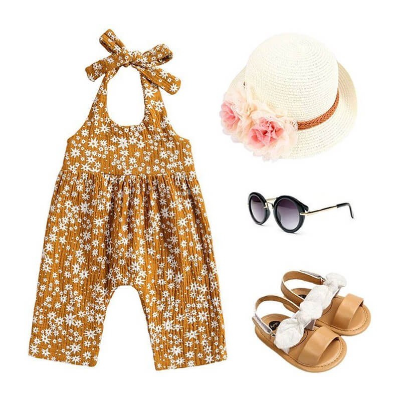 Baby Girl Mustard Sleeveless Floral Jumpsuit Outfit