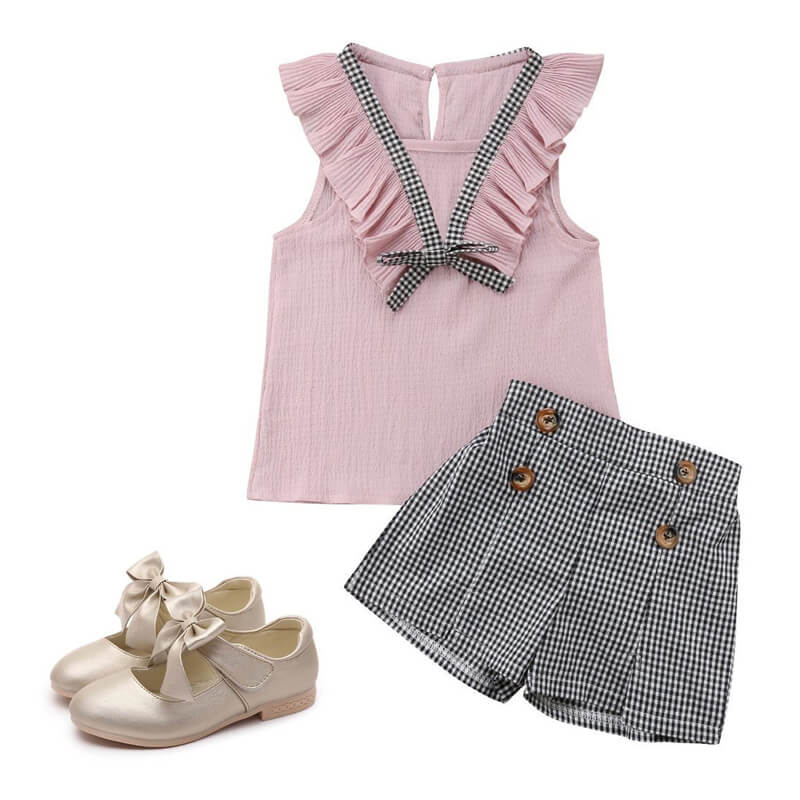 Toddler Girl Pink Plaid Set Leather Flats Outfit